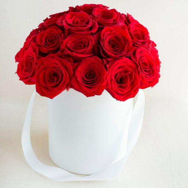 Caja circular blanca con rosas
